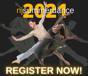 Text: NJ SummerDance 2021, Register Now! Two dancers pose on a black background